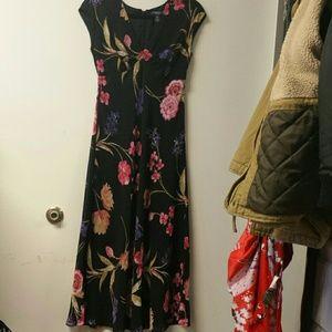 Chaps floral black long dress with V neck